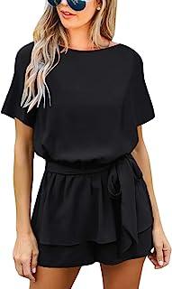 luvamia Women's Casual Short Sleeve Belted Overlay Keyhole Back Jumpsuits Romper