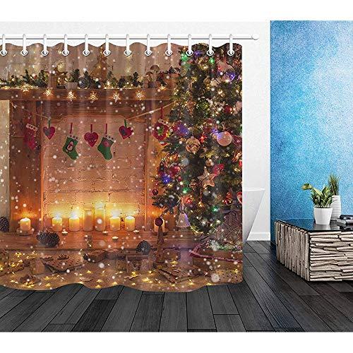 Happy Xmas Eve douchegordijn sneeuwvlokken in sterrenhuis met kaarsen open haard kerstboom douchegordijn, waterdichte stof met 12 haken, W122 X H183 CM/48X72 Inch