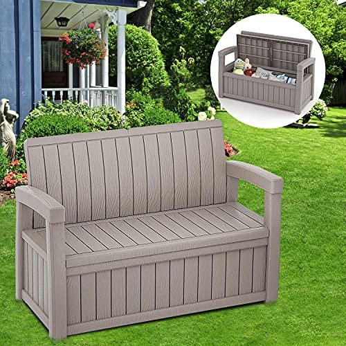 Furnivilla 184L/49Gal Outdoor Storage Bench Deck Box Deck Box Storage Container & Seat, 500LBS Load Capacity Outdoor Storage Seating, Resin Outdoor Storage Bench for Garden (Gray)