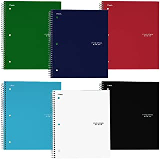 """Five Star Spiral Notebooks, 3 Subject, College Ruled Paper, 150 Sheets, 11"""" x 8-1/2"""", Teal, Yellow, 2 Pack (38444) 6-Noteb..."""