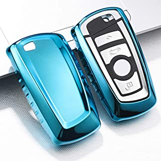 QBUC for BMW Key Fob Cover Protective Case, Soft TPU Anti-dust Protection Key Case Shell Keyless Remote Control Smart Car Key Protector for BMW 1/2/3/4/5/6/7 Series and X3 X4 M2 M3 M4 M5 M6(Blue)