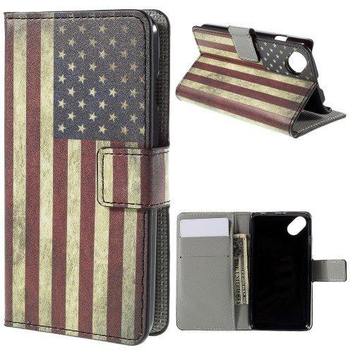 jbTec® Flip Hülle Handy-Hülle passend für Wiko Sunset 2 / Sunny - Book Motiv - Handy-Tasche Schutz-Hülle Cover Handyhülle Ständer Bookstyle Booklet, Motiv/Muster:USA Flag