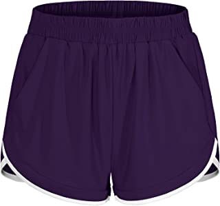 Women Elastic Waist Double Layer Casual Running Shorts with Side Pockets