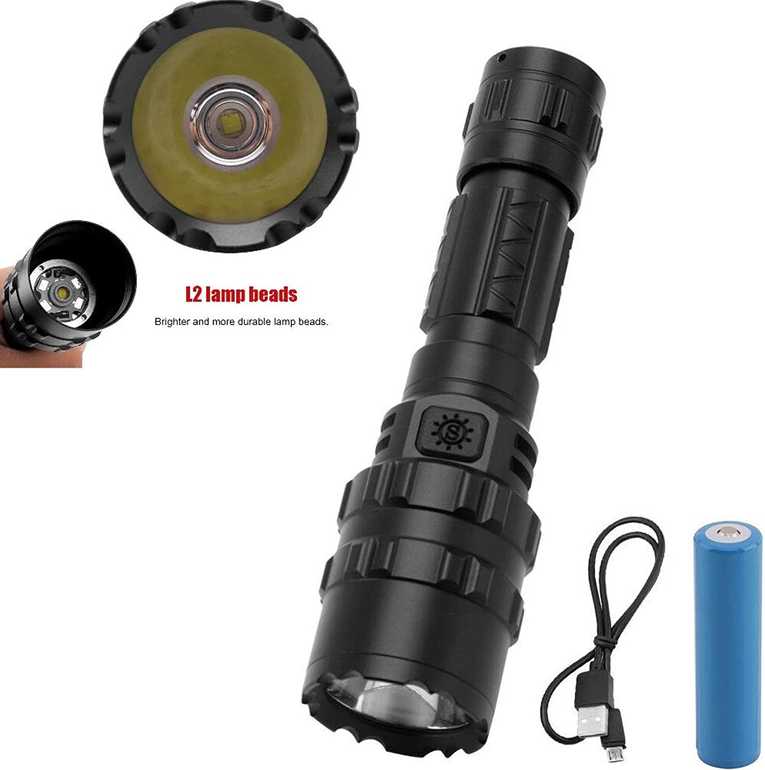 2019 Brightest Outdoor Rechargeable LED Torch 8000 Lumens Pocket Torches, 5 Modes Waterproof Handheld Flashlight for Camping Outdoor Sports with 18650 Battery