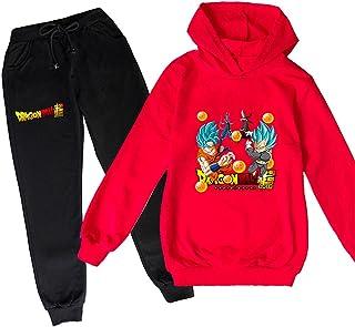 ZKDT Sudadera unisex con capucha y diseño de dragón y balón de fútbol para niñas y niños, de manga larga y pantalón de chá...