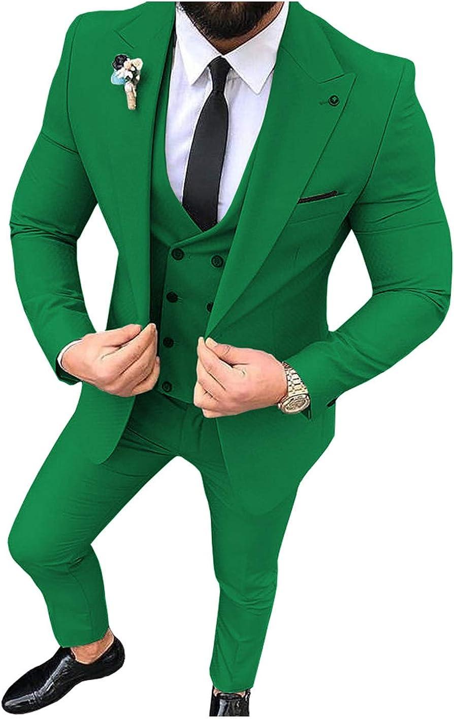Frank Men's Suit Slim Fit One Button 3-Piece Business Wedding Party Jacket Vest & Pants Light Green