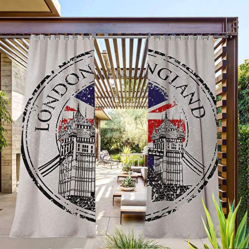 FOEYESEE Porch Curtains Outdoor London England Grunge Stamp with Flag Nostalgic National Graphic Scarlet Navy Blue Light Grey Summer Heat Insulating 120x96 Inch