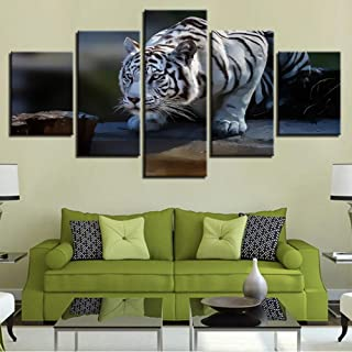 dalxsh Modular Hd Pictures Home Decor 5 Pieces White Tiger Paintings Wall Art Framework Canvas Animals Posters for Living Room-30X40Cmx2/30X60Cmx2/30X80Cmx1