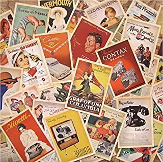 JQWORKLAND 32 PCS 1 Set Vintage Retro Old Poster Postcards for Worth Collecting