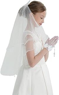 Girls First Communion Veil with Bow Holy White Rhinestone Lace Bow Communion Headband Vail Flower Girl Bow Wedding Kids Veils