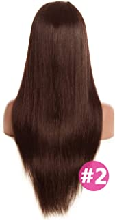 360 Lace Frontal Wig #4 Light Brown Color 150 Density Malaysian Straight Lace Frontal Human Hair Wigs crack of dawn Non Remy Lace Wig,#2,16inches,250 Density
