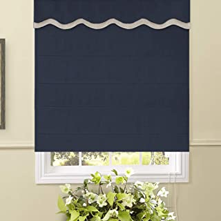Artdix Roman Shades Blinds Window Shades - Navy Blue 20 W x 48L Inches (1 Piece) Thermal Solid Fabric Custom Made Roman Shades for Windows, Doors, Home, Kitchen, Living Room Including Valance