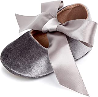 Baby Girls Mary Jane Flats Princess Dress Shoes Soft Sole Bowknot Non-Slip Infant