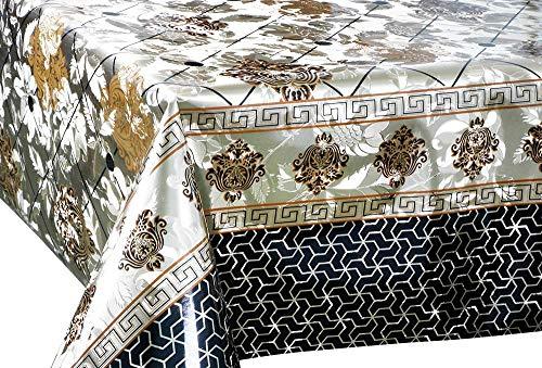Deconaz Vinylloper per meter tafelkleed tafelkleed 140 cm barokpatroon goud tuin keuken eettafel 300cm x 140cm Goud