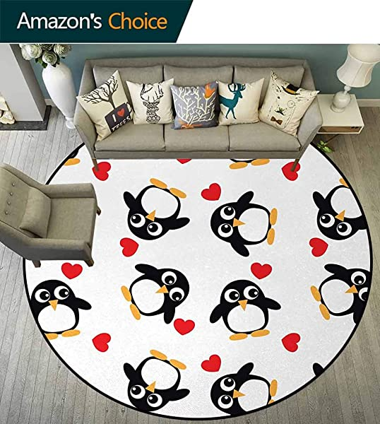 Sea Animals Modern Machine Washable Round Bath Mat Penguins With Heart Shapes Lovely Sweet Romantic Valentines Day Non Slip Soft Floor Mat Home Decor Diameter 47 Inch Black White Red Mustard