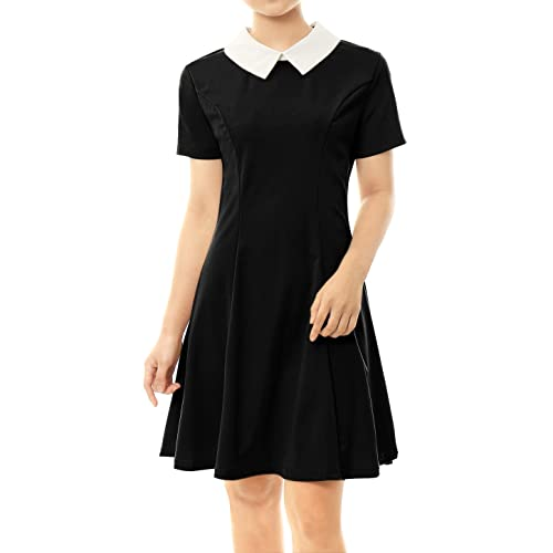 Allegra K Women s Contrast Doll Collar Short Sleeves Above Knee Flare Dress 412e0da02