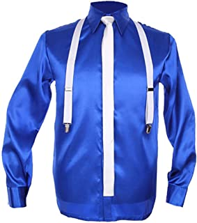Michael Shirt Classic MJ Blue SC Smooth Criminal Shining Shirt with Tie Unisex Costumes Set Blue