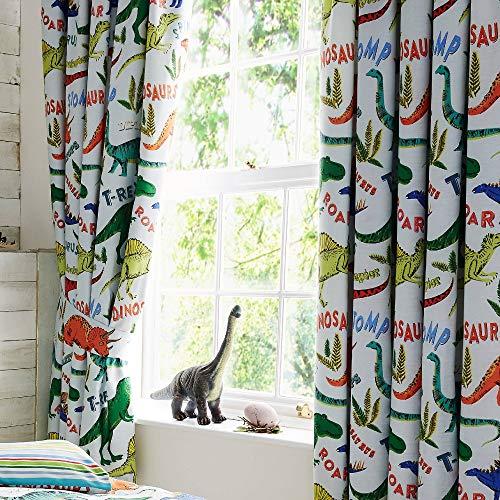 Happy Linen Company Kinder Vorhänge mit Kräuselband - Dinosaurier-Motive - Grün - 168 x 183 cm