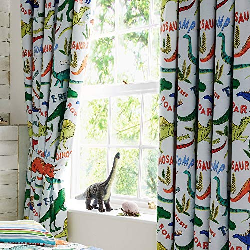 Happy Linen Company Kids Boys Girls Dinosaur Park Jurassic T-Rex Dino Green 66' x 72' Pencil Pleat Curtain Set