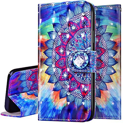 Surakey Coque pour Huawei P Smart 2019 Paillette Brillant Diamant Protection Housse Etui à Rabat en Cuir PU Pochette Portefeuille Livre Flip Case Cover Fermeture Magnétique (Mandala Fleur)