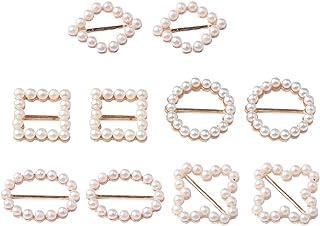 10 peças de tamanhos e formas variados de fivela de metal pérola para artesanato faça você mesmo, cartão de casamento, con...