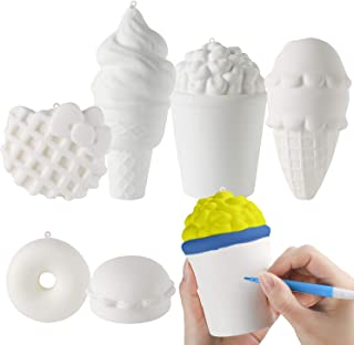 MALLMALL6 6Pcs DIY Slow Rising Jumbo Food Squishy Set-Hamburger, Popcorn, Donuts, Kitty Waffle, Ice Cream ×2 Creamy Scent Kawaii Soft White Squishy Toys, Great Gift as Keychain, Phone Straps, Bonus