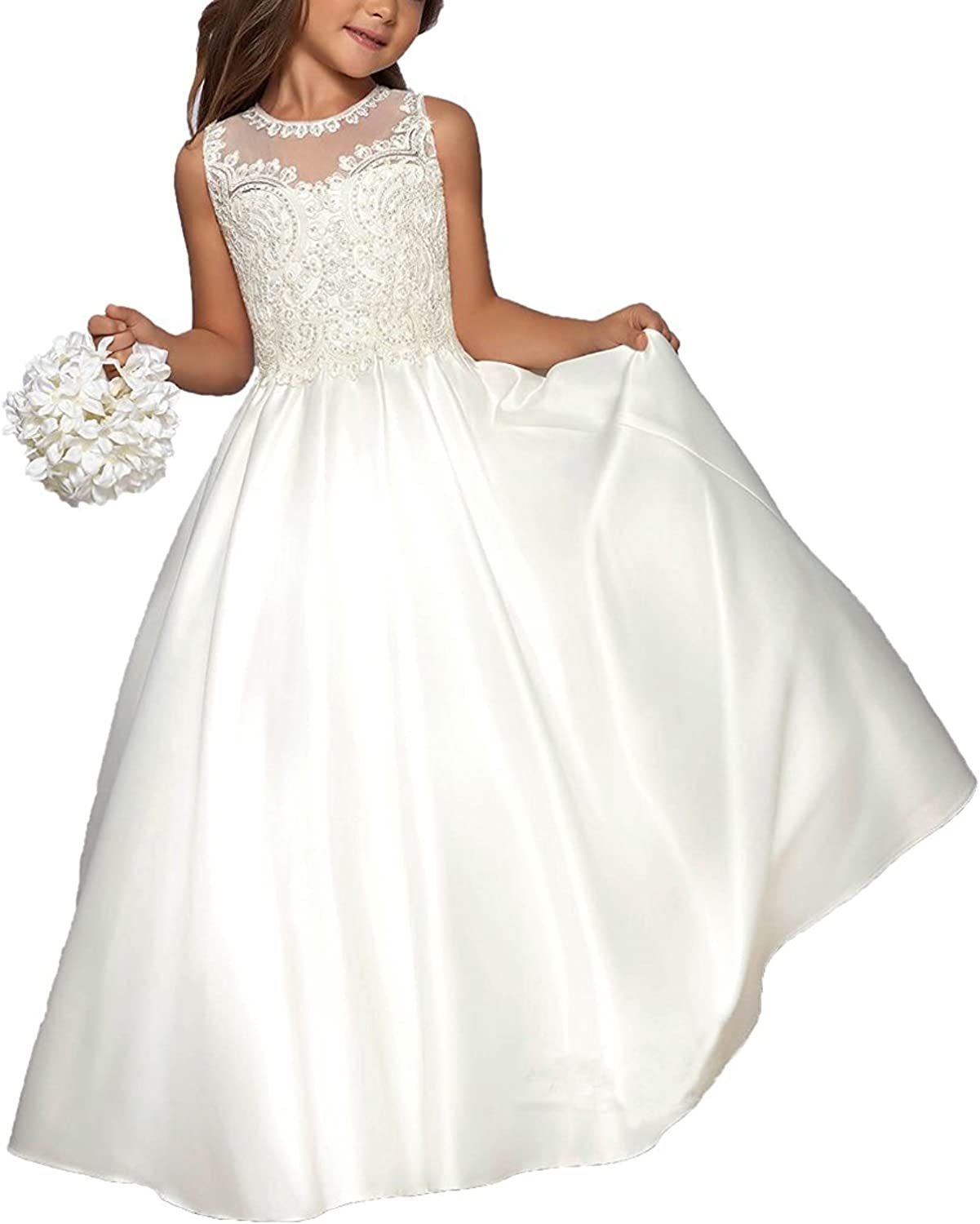 Elegant Flower Girls Dresses Lace Pageant Ball Gown
