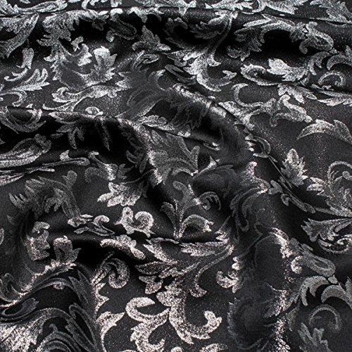 Stoff am Stück Stoff Polyester Jacquard Ornament schwarz silber Lurex Silberbrokat Barock 280 cm überbreit