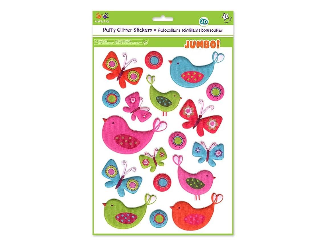 Krafty Kids KC768A Glitter Puffy Jumbo Stickers, Chickadee