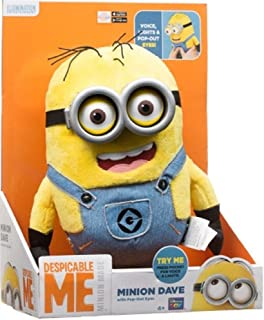 Despicable Me Minion Dave Original Voice Talking Interactive Plush With Pop-Out Eyes