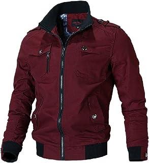 YYG Men Full-Zip Jacket Coat Casual Plus Size Multi-Pockets Windbreaker Jacket Coat