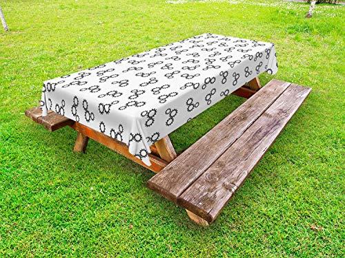 ABAKUHAUS industrieel Tafelkleed voor Buitengebruik, Machine Gears Patroon, Decoratief Wasbaar Tafelkleed voor Picknicktafel, 58 x 120 cm, Donkergrijs en wit