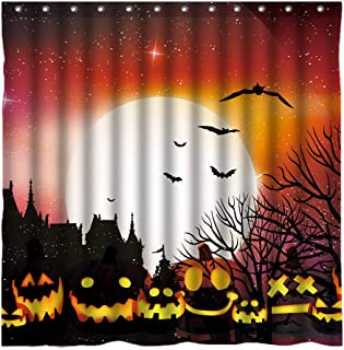 DMTTY Halloween Shower Curtain Dreamy Sky Bat Full Moon Pumpkin Head Bathroon Curtain 72x72 Inches Fabric Bathroom Accessories Polyester Waterproof with Hooks