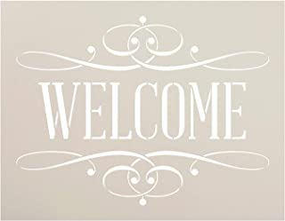 Welcome Stencil by StudioR12 | Reusable Mylar Template| Ideal for painting on Rustic Wood - Vintage Elegant Farmhouse Country | Use for Crafting, DIY Home Decor - STCL1006_1 SELECT SIZE
