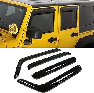 DEE 4pcs For 07-18 Jeep Wrangler 4-Door JK Sun Rain Guard Vent Shade Window Visors