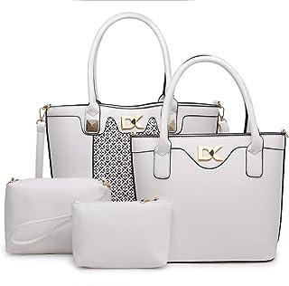 Diana Korr Women's Shoulder Bag with Handbag (White) (Set of 4)
