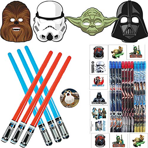 Ultimate Star Wars Classic and Episode 8 Birthday Party Favors Pack For 12 Guests Perfect Goodie Bags Fillers With Inflatable Light Sabers, Star Wars Masks, Tattoos, Pencils, and Exclusive Porg Pin