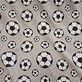 Stoff Baumwolle Jersey Meterware grau Fussball schwarz