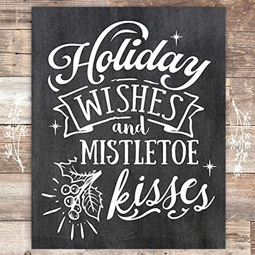 Holiday Wishes and Mistletoe Kisses Chalkboard Christmas Art Print - Unframed - 8x10