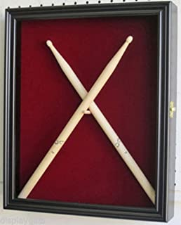 Blue_Bright Display Case Shadow Box Wall Mountable Cabinet for 2 Drum Sticks with Hinged Glass Door Wood Black Finish