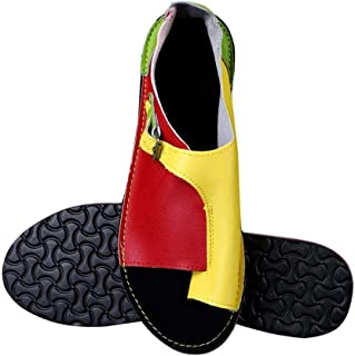 Women'S Sandals,Women Shoes Soft Faux Leather Women Sandals Female Flat Sandals Women Casual Summer Beach Shoes Female Buckle,Red And Yellow