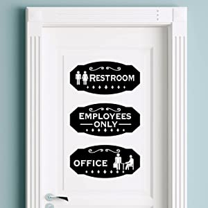 3 Pieces Office Sticker Sign, Acrylic Restrooms Sign Restroom Directional Sign Self-Adhesive Employees Only Sign Black and White Office Sticker for Business Office Door Wall