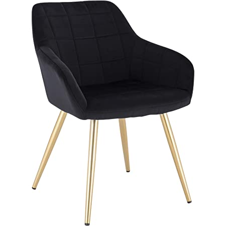 WOLTU 1 pièce Chaise de Salle à Manger Chaise de Cuisine rembourrée en Velours,Or Pied en métal,Noir BH232sz-1