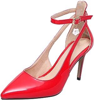 7c98deb98696 UH Escarpin Femme Talon Aiguille Haut Sexy Vernis Brillant Bride Cheville  Sandales Bout Pointu Boucle Chaussure