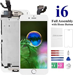 Screen Replacement for iPhone 6 [White] with Home Button, Mobkitfp Pre-Assembled LCD Display Digitizer with Camera+Earpiece+Sensors for A1549, A1586, A1589, Include Repair Tools+Magnetic Screw Mat