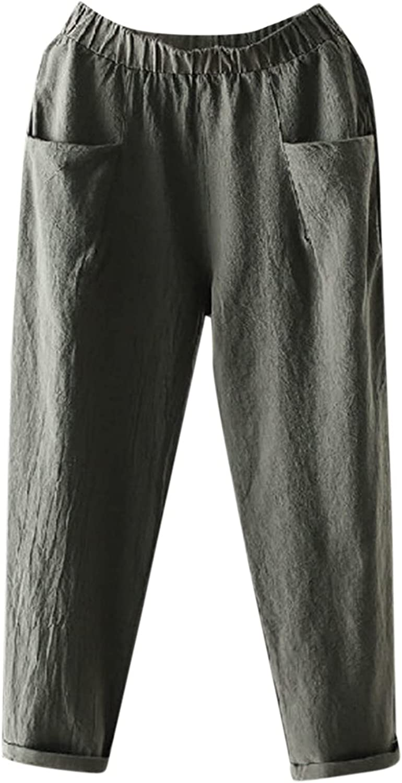 LEIYAN Womens Cotton Linen Pants Casual Elastic Waist Loose Fit Palazzo Harem Pants Outdoor Bohemian Cropped Pants