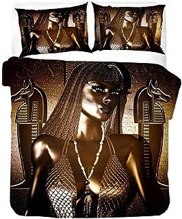 Meesovs® Funda de Edredón 3D Faraón Reina egipcia Vintage Doble 200 X 200 cm Impresión Juego de Cama Sabana y Funda de Almohada Poliéster Familia Niño Niña Cremallera Funda nórdica de Halloween