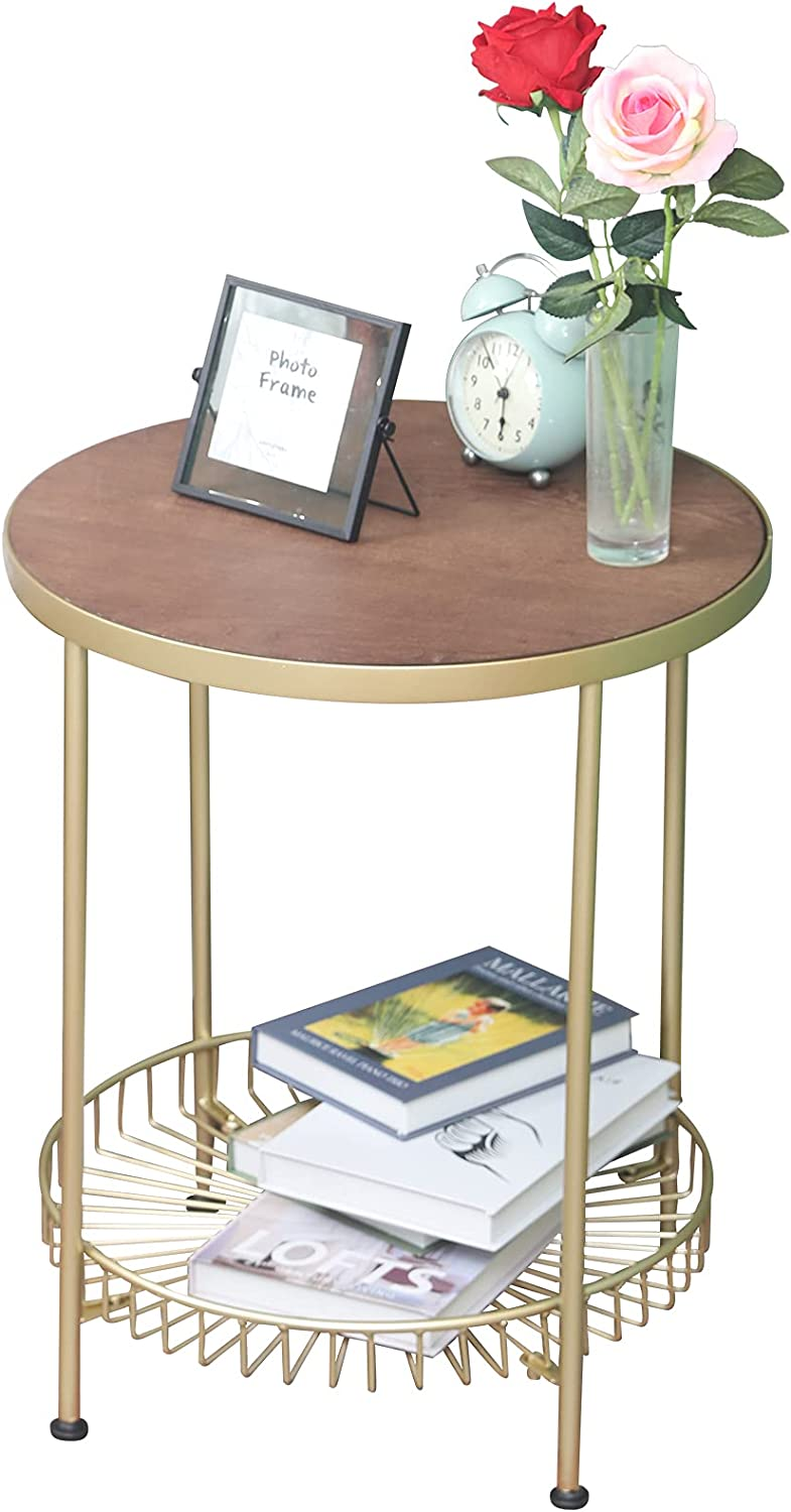 DAOYIJIAJU Round Coffee Table Solid Wood and Gold New Shipping Free Ranking TOP19 Si Frame Metal