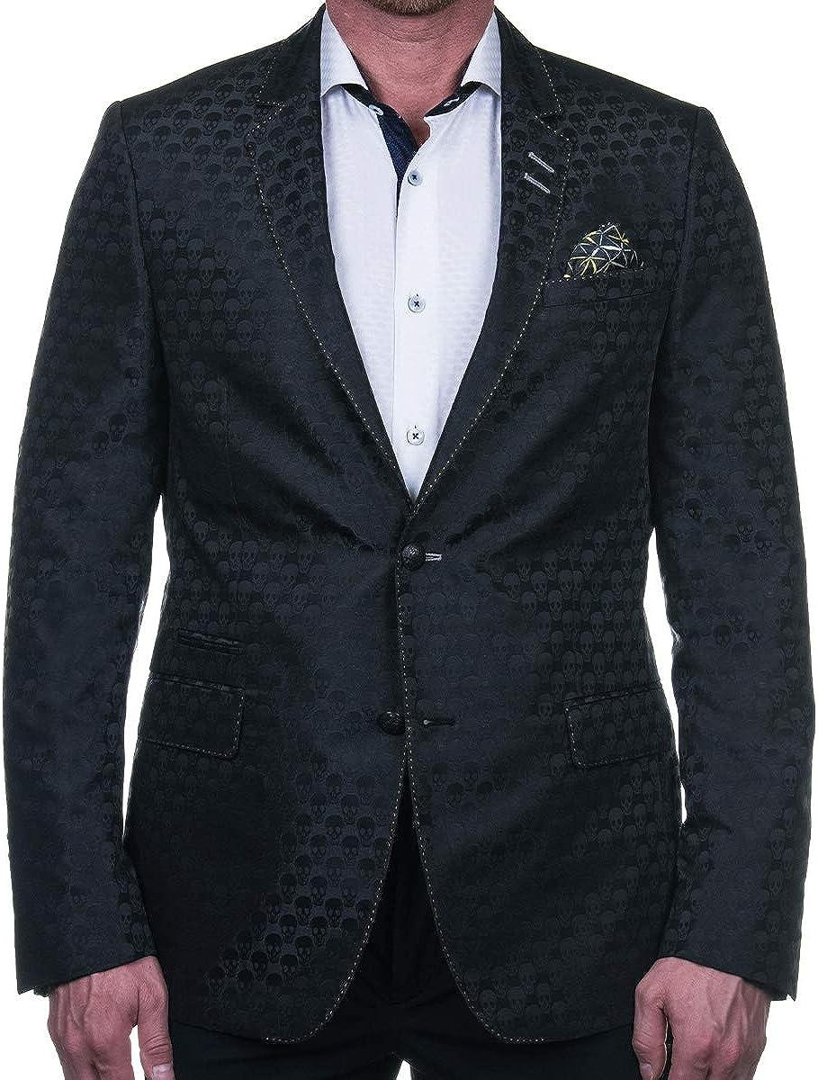 Maceoo Mens Designer Blazer - Socrate SkullBlack Black - Shaped Fit
