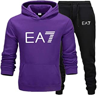Mens Sportwear Tracksuits Set Casual Pullover Hoodies Top Bottoms Jogging/Joggers Gym Sweat Suit Trousers,Purple,XL